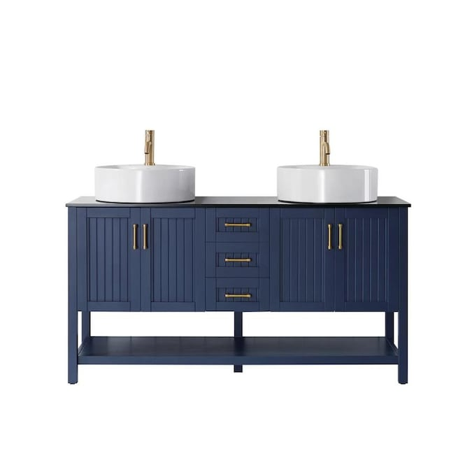 Vinnova Modena 60 In Royalblue Double Sink Bathroom Vanity With Black Glass Top In The Bathroom Vanities With Tops Department At Lowes Com