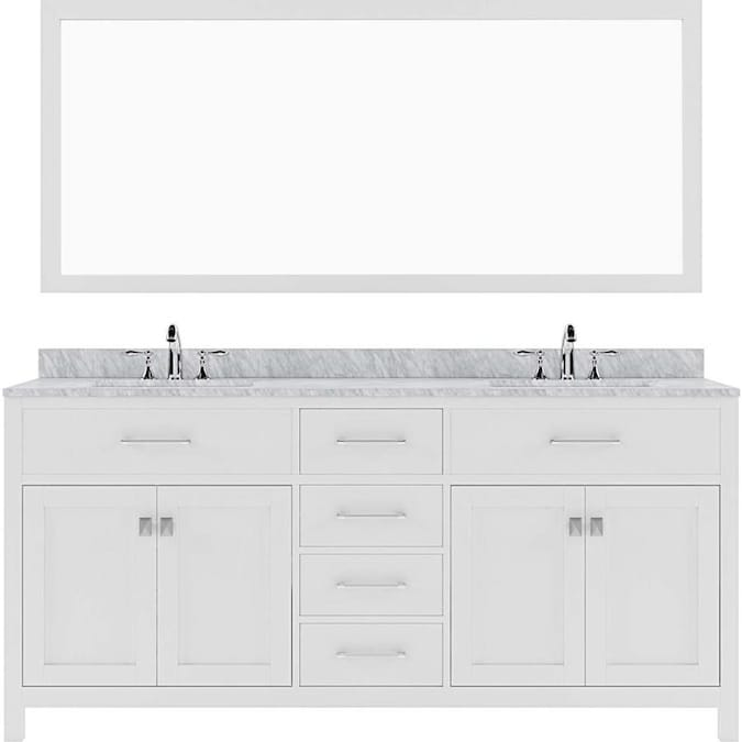 Virtu Usa Caroline 72 In White Undermount Double Sink Bathroom Vanity With Italian Carrara White Marble Top Mirror Included In The Bathroom Vanities With Tops Department At Lowes Com