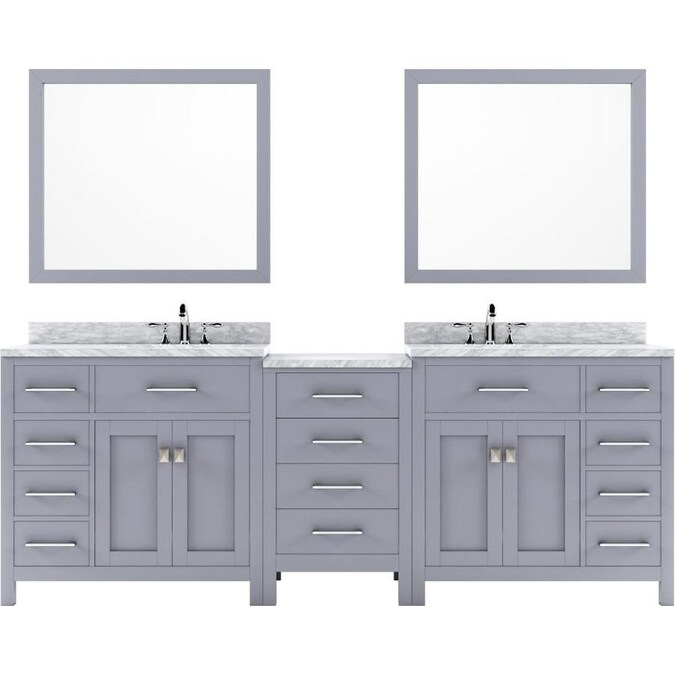 Virtu Usa Caroline Parkway 95 In Gray Double Sink Bathroom Vanity With Italian Carrara White Marble Top Mirror Included In The Bathroom Vanities With Tops Department At Lowes Com
