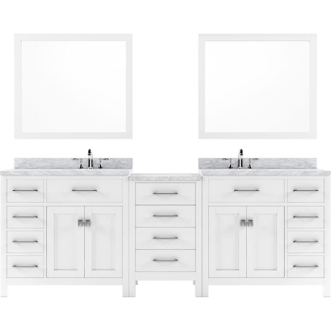 Virtu Usa Caroline Parkway 95 In White Undermount Double Sink Bathroom Vanity With Italian Carrara White Marble Top Mirror And Faucet Included In The Bathroom Vanities With Tops Department At Lowes Com