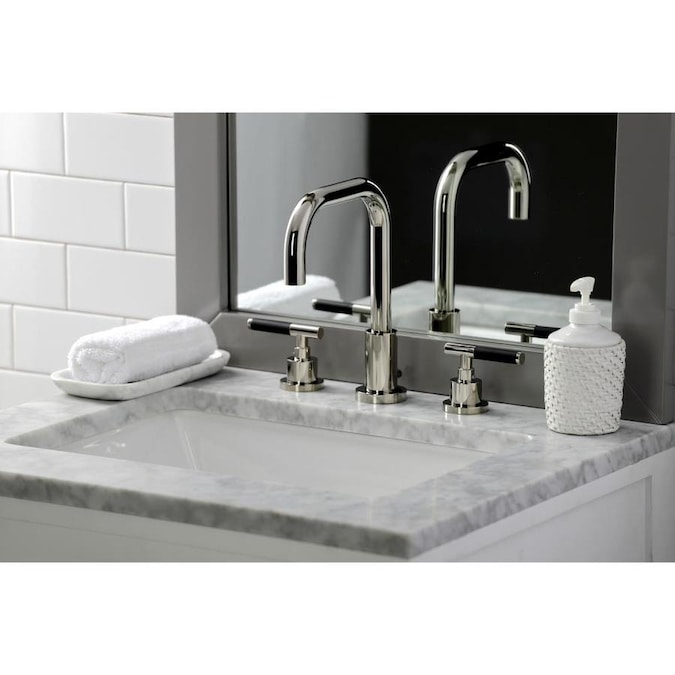 Kingston Brass Kaiser Polished Nickel 2 Handle 8 In Widespread Bathroom Sink Faucet With Drain In The Bathroom Sink Faucets Department At Lowes Com