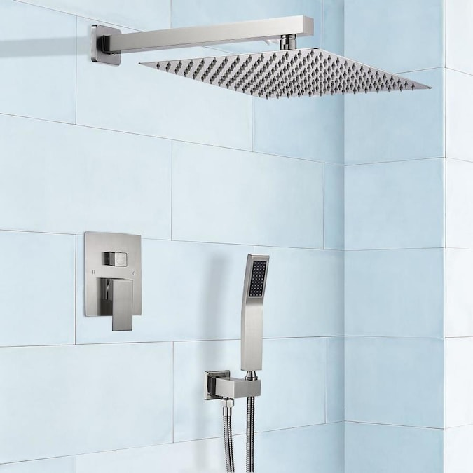 Casainc Shower System Brushed Nickel Lord Ear Luxury Rain Mixer Shower Combo Set Wall Mounted Rainfall Shower Head System 65292 12 In Square Rain Shower Head In The Shower Systems Department At Lowes Com