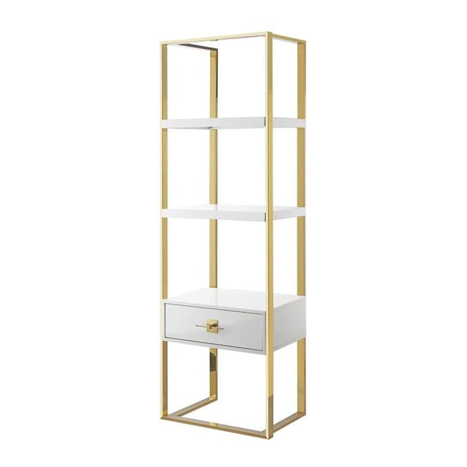 Nicole Miller Maui Etagere Bookshelf Bookcase White Chrome In The Bookcases Department At Lowes Com
