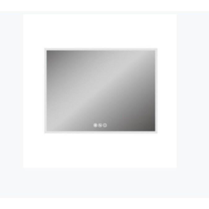 Casainc Frameless Led Bathroom Mirror 36 In Lighted Led Fog Free Silver Rectangular Frameless Bathroom Mirror In The Bathroom Mirrors Department At Lowes Com