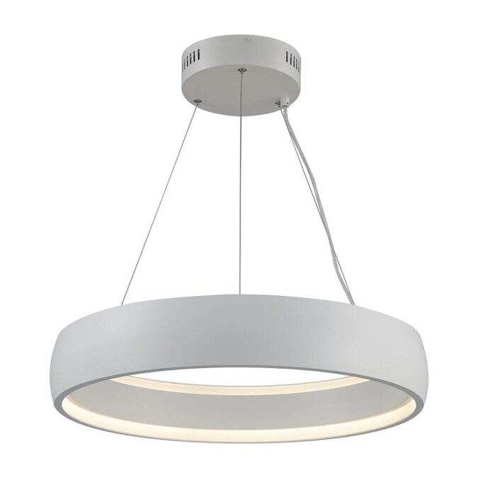 Lucid Lighting Modern Chandelier Pendant Fixture With Integrated Led Light 23 25 In Diameter Size Single Tier Halo Light Glows Blends With Mid Century And Contemporary White Glass Ring Suspension Ceiling Canopy And