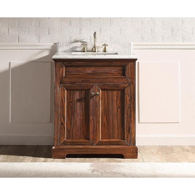 Supreme Wood Shasta 30 In Tranditional Brown Undermount Single Sink Bathroom Vanity With White Carrara Marble Top In The Bathroom Vanities With Tops Department At Lowes Com