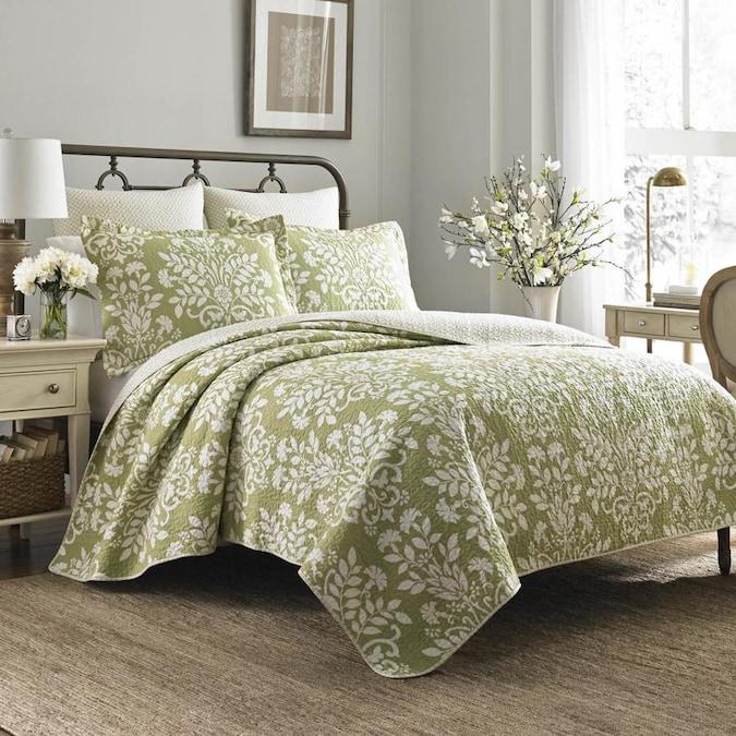 3 Piece Light Green King Quilt Set, Light Green Quilt Bedding