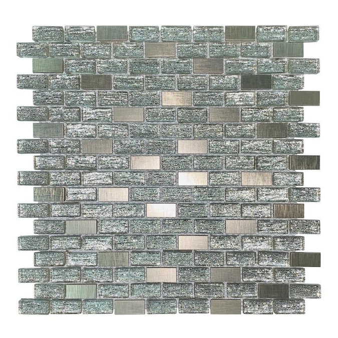 House Of Mosaics Gray And Copper Effect 4 In X 4 In Multi Finish Glass Metal Stone Wall Tile Sample In The Tile Samples Department At Lowes Com
