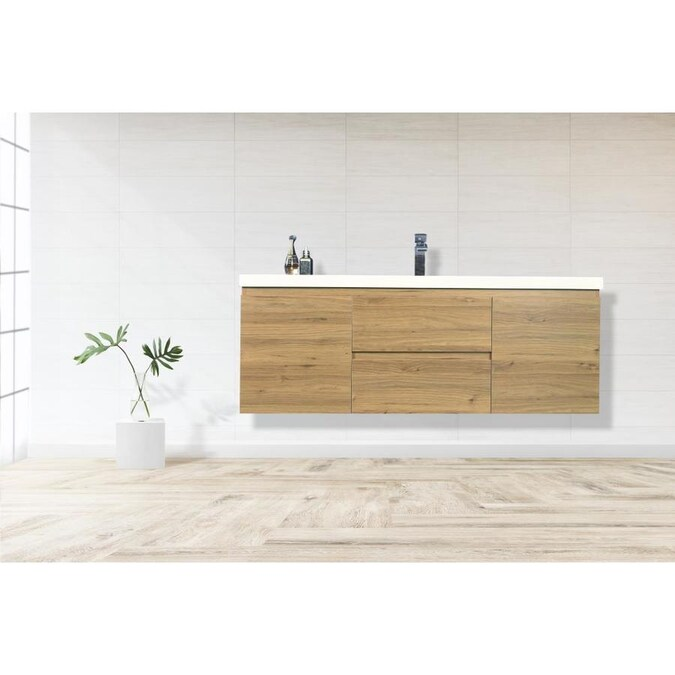 Moreno Bath Moreno Bohemia 60 In Natural Oak Single Sink Bathroom Vanity With Pure White Acrylic Top In The Bathroom Vanities With Tops Department At Lowes Com
