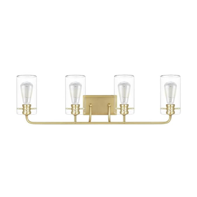 Laluz Emelina 4 Light Brass Modern Contemporary Vanity Light In The Vanity Lights Department At Lowes Com