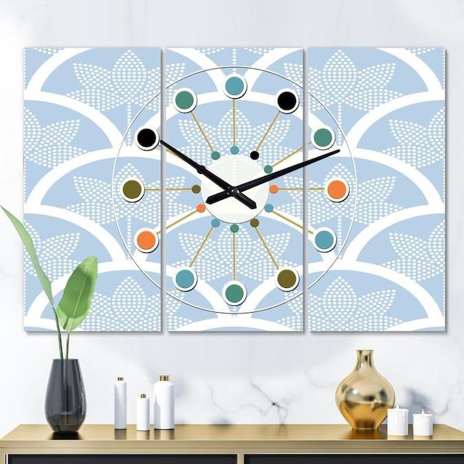 Designart Designart Japanese Style Half Circle Pattern Oversized Mid Century Modern 3 Panels Wall Clock In The Clocks Department At Lowes Com