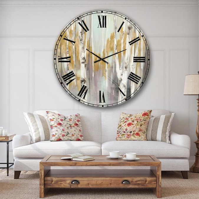 Designart Designart Silver And Yellow Birch Forest Ii Farmhouse Wall Clock In The Clocks Department At Lowes Com