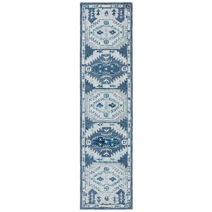 Safavieh Capri 2 X 9 Blue Gray Indoor Abstract Bohemian Eclectic Handcrafted Runner In The Rugs Department At Lowes Com