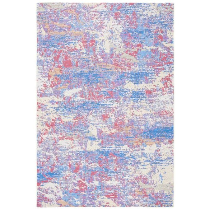Safavieh Summer 5 X 8 Blue Red Indoor Outdoor Abstract Bohemian Eclectic Area Rug In The Rugs Department At Lowes Com