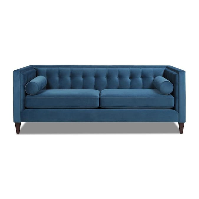 Jennifer Taylor Home Jennifer Taylor Home Jack 84 In Modern Tuxedo Tufted Sofa Satin Teal Blue Velvet In The Couches Sofas Loveseats Department At Lowes Com