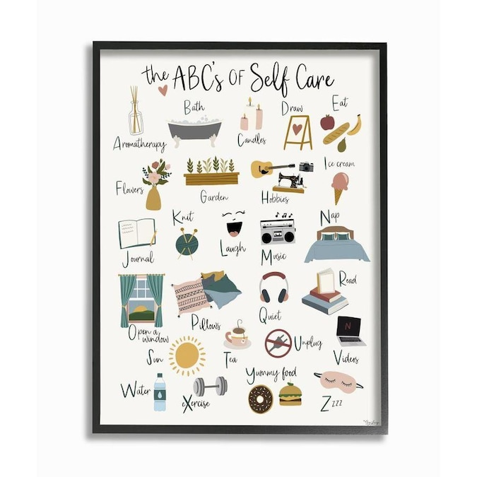 Stupell Industries Stupell Industries Abc S Of Self Care Adult Relaxation Alphabet Black Framed Giclee Texturized Art By Gigi Louise 11 X 1 5 X 14 In The Wall Art Department At Lowes Com