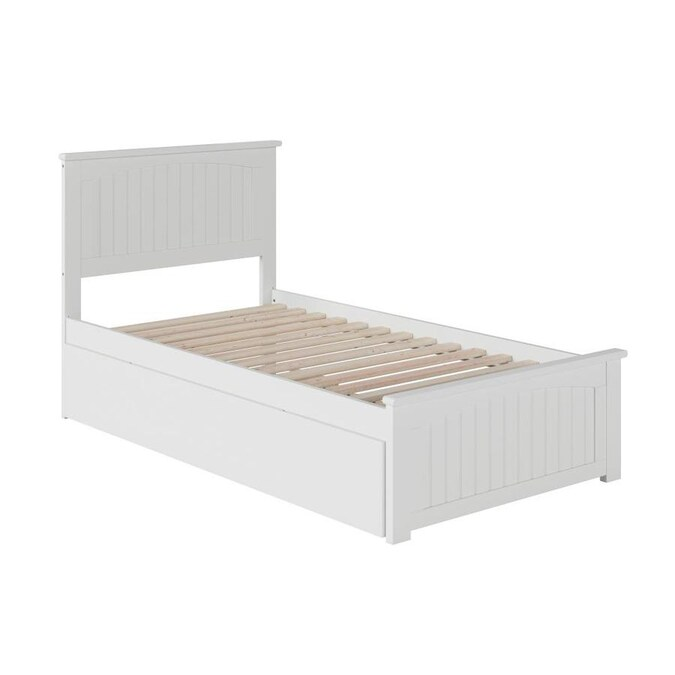 Atlantic Furniture Nantucket Twin Platform Bed With Matching Foot Board With Twin Size Urban Trundle Bed In White In The Beds Department At Lowes Com