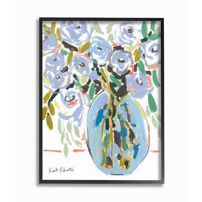 Stupell Industries Stupell Industries Abstract Blue Pastel Floral Bouquet Organic Lines Black Framed Giclee Texturized Art By Kait Roberts 11 X 1 5 X 14 In The Wall Art Department At Lowes Com