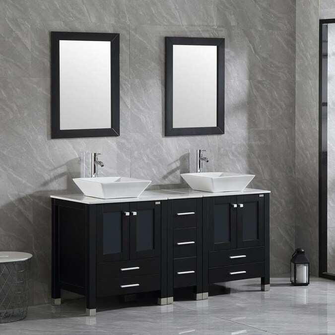 Wonline 60 In Black Drop In Double Sink Bathroom Vanity With Black Wood Top Mirror And Faucet Included In The Bathroom Vanities With Tops Department At Lowes Com