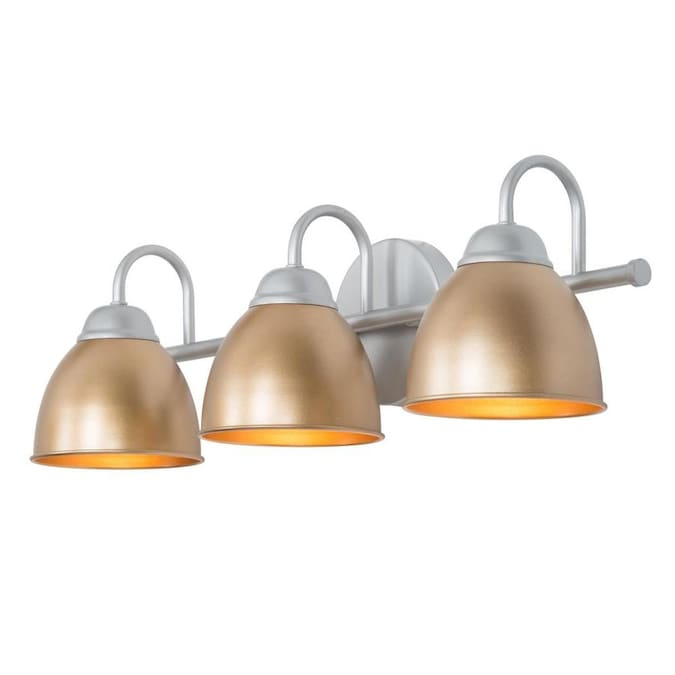 Lnc 3 Light Classic Gold With Silver Bathroom Vanity In The Vanity Lights Department At Lowes Com