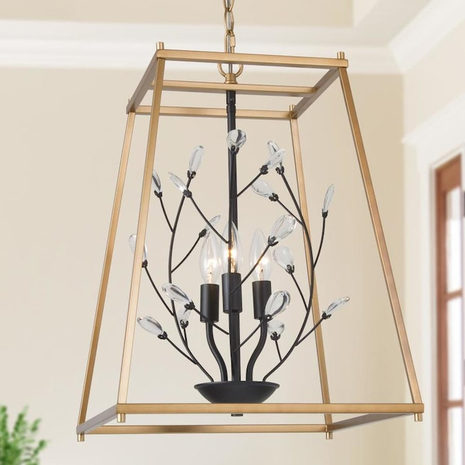 Laluz 3 Lights Modern Contemporary Black With Gold Crystal Square Chandelier Light In The Chandeliers Department At Lowes Com