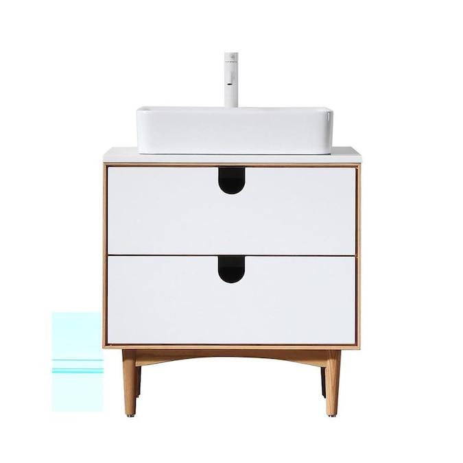Cartisan Design Portree 30 Matte White Freestanding Mid Century Bathroom Vanity In The Bathroom Vanities With Tops Department At Lowes Com