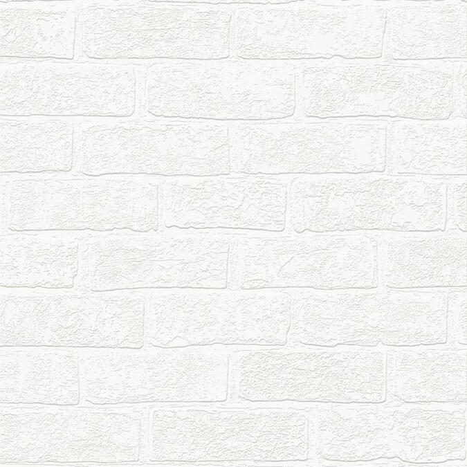 Graham Brown Eclectic 56 Sq Ft White Vinyl Paintable Textured Brick Unpasted Paste The Paper Wallpaper In The Wallpaper Department At Lowes Com