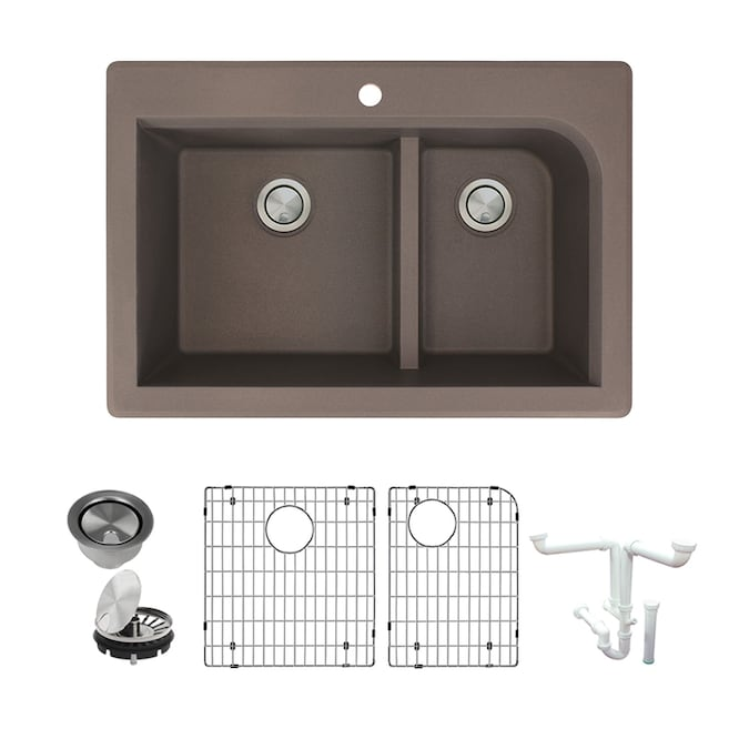 Transolid Radius Drop In 33 In X 22 In Espresso Double Offset Bowl 1 Hole Kitchen Sink All In One Kit In The Kitchen Sinks Department At Lowes Com