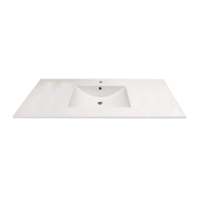Transolid Juliette 49 In White Vitreous China Single Sink Bathroom Vanity Top In The Bathroom Vanity Tops Department At Lowes Com