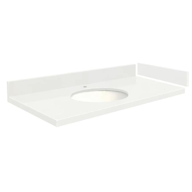 Transolid 39 In Natural White Quartz Single Sink Bathroom Vanity Top In The Bathroom Vanity Tops Department At Lowes Com