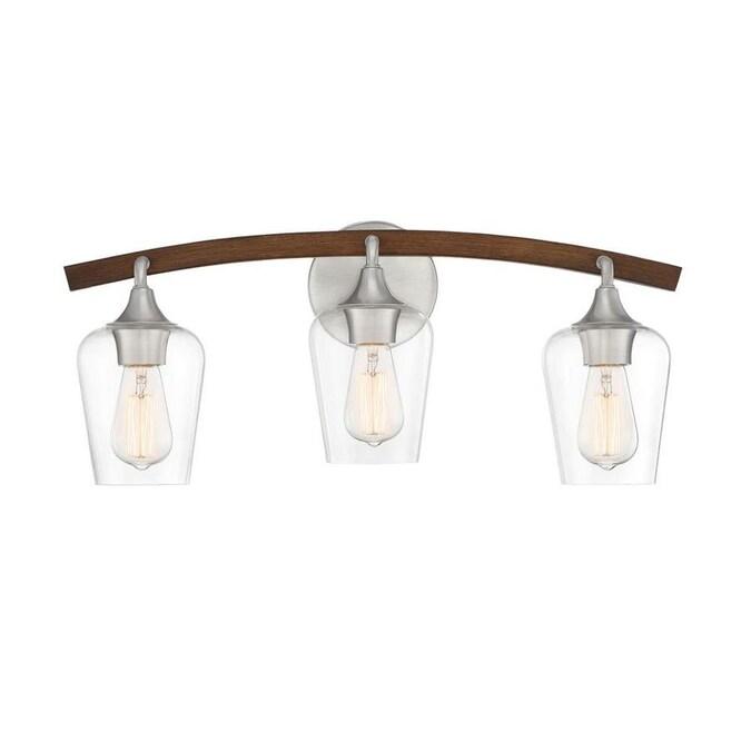 Quoizel Sanford 3 Light Nickel Farmhouse Vanity Light In The Vanity Lights Department At Lowes Com