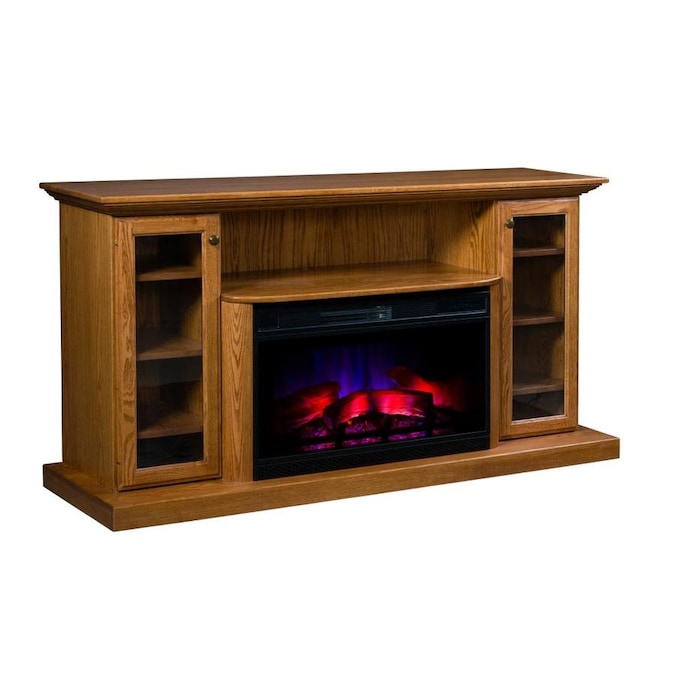 Topeka Innovative Concepts 70 In W Oak, Dark Cherry Wood Electric Fireplace