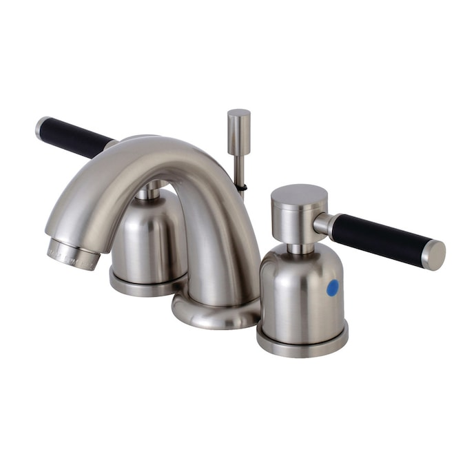Kingston Brass Kaiser Brushed Nickel 2 Handle 8 In Widespread Bathroom Sink Faucet With Drain In The Bathroom Sink Faucets Department At Lowes Com