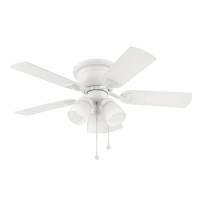 Harbor Breeze Centreville 42 In White Led Indoor Flush Mount Ceiling Fan With Light 5 Blade In The Ceiling Fans Department At Lowes Com
