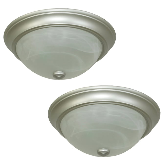 Project Source 2 Pack 13 In Satin Nickel Traditional Flush Mount Light In The Flush Mount Lighting Department At Lowes Com