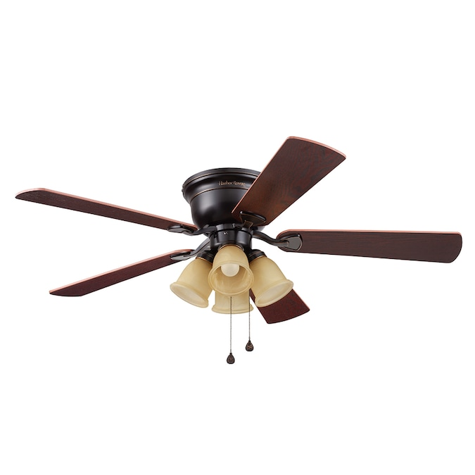 Harbor Breeze Centreville Oil Rubbed Bronze 52 In Led Indoor Flush Mount Ceiling Fan 5 Blade In The Ceiling Fans Department At Lowes Com
