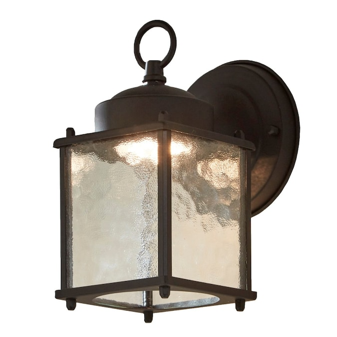Portfolio Wall Lantern 8 25 In H Black Led Outdoor Wall Light In The Outdoor Wall Lights Department At Lowes Com
