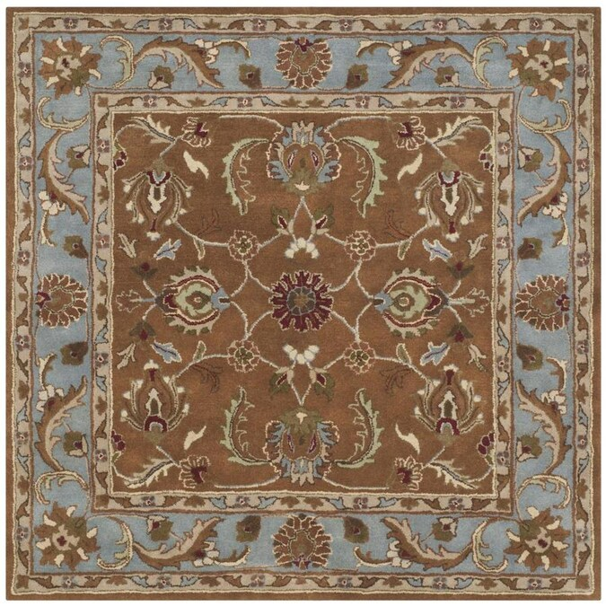 Safavieh Heritage Ganges 8 X 8 Brown Blue Square Indoor Floral Botanical Oriental Handcrafted Area Rug In The Rugs Department At Lowes Com