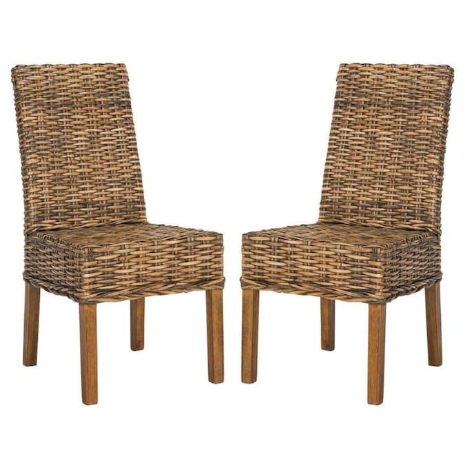 Safavieh Set Of 2 Sanibel Coastal Brown Accent Chair In The Chairs Department At Lowes Com