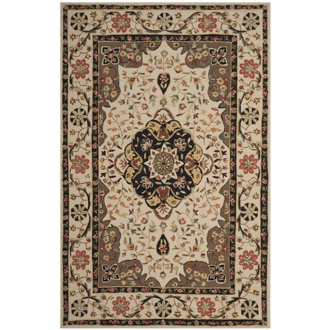 Safavieh Easy Care Bridgeport 6 X 9 Cream Olive Indoor Floral Botanical Oriental Handcrafted Area Rug In The Rugs Department At Lowes Com