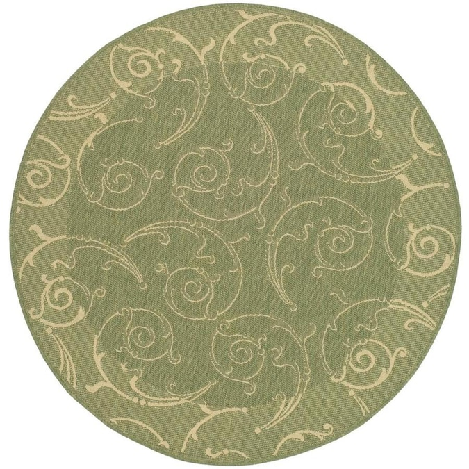 Safavieh Courtyard Scrolls 8 X 8 Olive Natural Round Indoor Outdoor Floral Botanical Coastal Area Rug In The Rugs Department At Lowes Com
