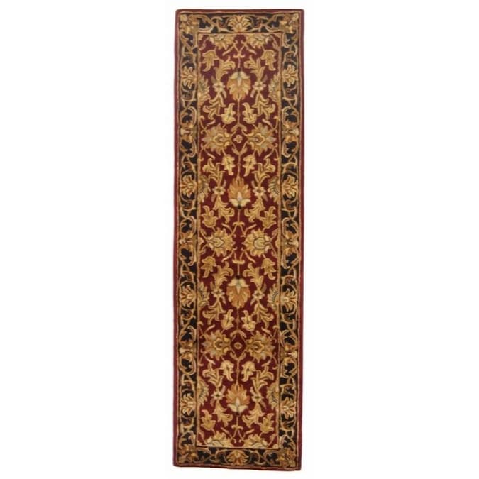 Safavieh Heritage Kashan 2 X 20 Red Black Floral Botanical Oriental Handcrafted Runner In The Rugs Department At Lowes Com
