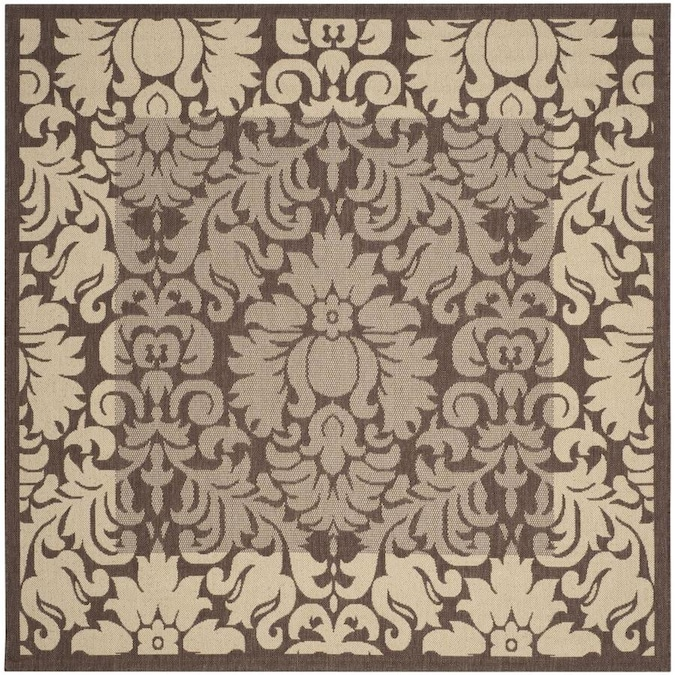 Safavieh Courtyard Nashua 7 X 7 Chocolate Natural Square Indoor Outdoor Damask Coastal Area Rug In The Rugs Department At Lowes Com