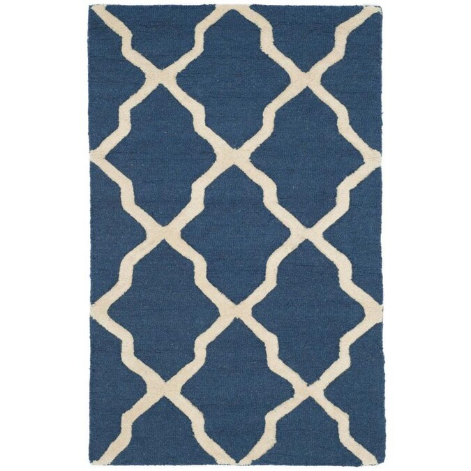 Safavieh Cambridge Mosaics 3 X 4 Navy Blue Ivory Indoor Trellis Handcrafted Throw Rug In The Rugs Department At Lowes Com