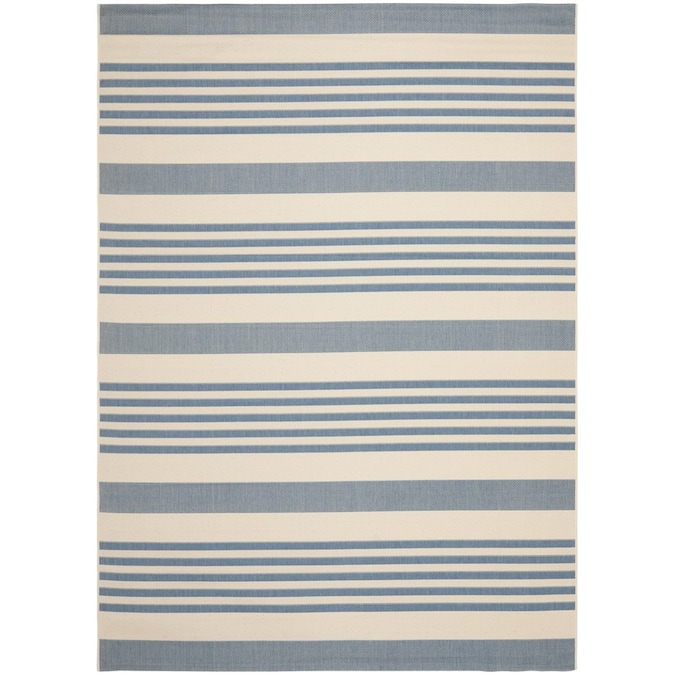 Safavieh Courtyard Dobby 8 X 11 Beige Blue Indoor Outdoor Stripe Coastal Area Rug In The Rugs Department At Lowes Com