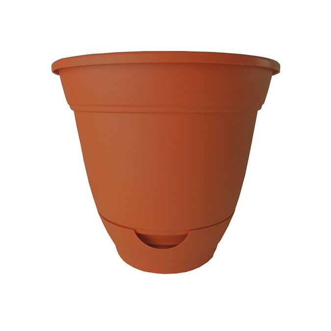 Garden Treasures 9 In W X 8 25 In H Clay Plastic Self Watering Planter In The Pots Planters Department At Lowes Com