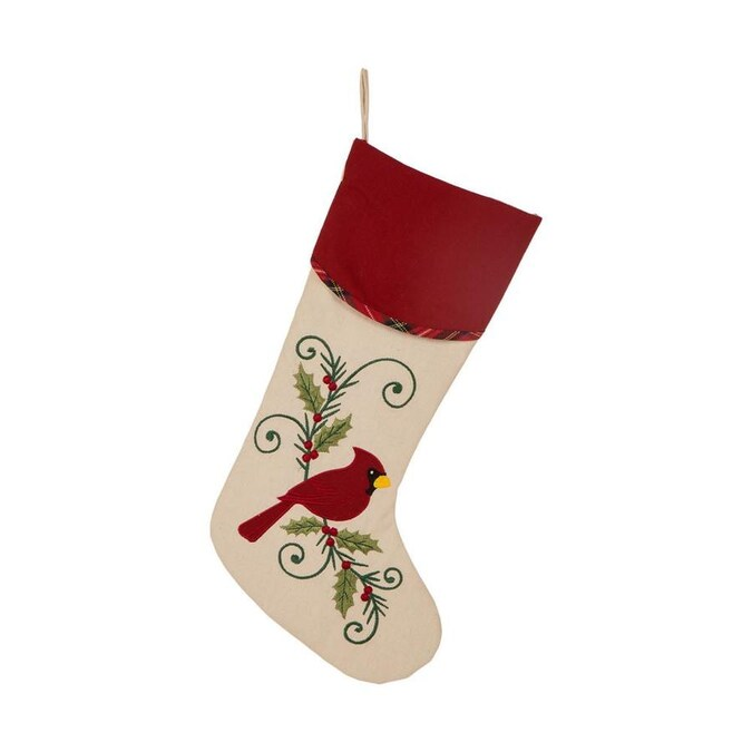 Glitzhome 21 Inl Fabric Christmas Stocking Cardinal In The Christmas Stockings Department At Lowes Com