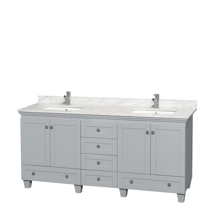 Wyndham Collection Acclaim 72 In Oyster Gray Undermount Double Sink Bathroom Vanity With White Carrera Natural Marble Top In The Bathroom Vanities With Tops Department At Lowes Com