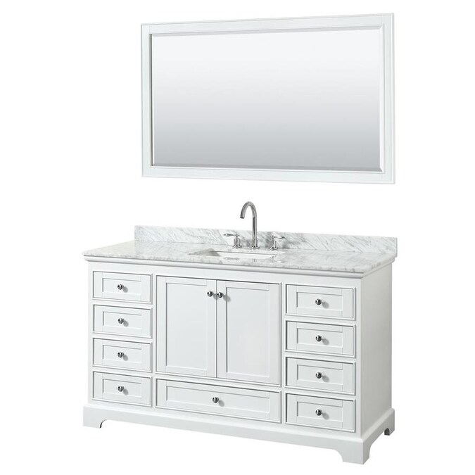 Wyndham Collection Deborah 60 In White Undermount Single Sink Bathroom Vanity With White Carrara Natural Marble Top In The Bathroom Vanities With Tops Department At Lowes Com