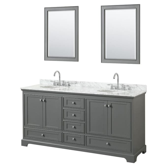 Wyndham Collection Deborah 72 In Dark Gray Undermount Double Sink Bathroom Vanity With White Carrara Marble Natural Marble Top Mirror Included In The Bathroom Vanities With Tops Department At Lowes Com